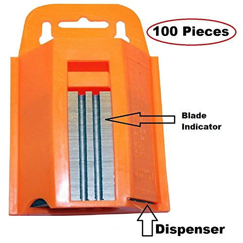 100-Pack Utility Knife Blades With Dispenser- Sharp Utility Knife Blades - With Dispenser For Safe Storage And Easy Disposal- By