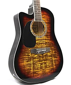 Moz Left Handed Full Size Thin Body Sunburst Acoustic Electric Guitar with 8 Accessories