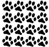 16 Dog Pawprints Vinyl Wall Decal - Black