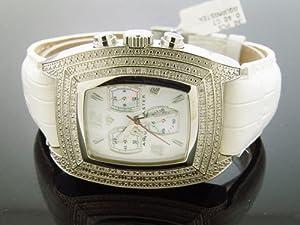 Aqua Master Silver Tone Square 20 Diamonds Watch White Face & Band