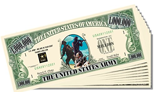 Military - Army Novelty Million Dollar Bill - 25 Count with Bonus Clear Protector & Christopher Columbus Bill