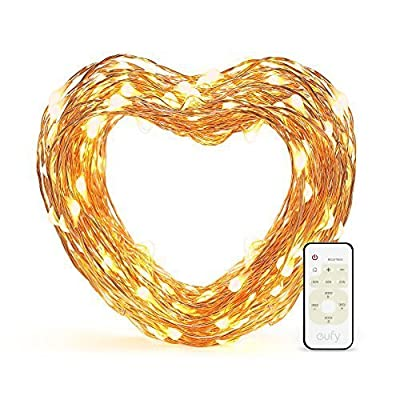 Eufy Starlit String Light, Indoor and Outdoor Dimmable Warm White LED, IP65 Water-resistant, Decoration Lights for Christmas Tree, Holiday, and Party with Remote Control (33 ft Copper Wire)