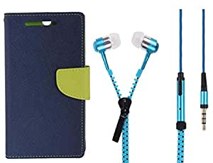Novo Style Book Style Folio Wallet Case Xiaomi Redmi Note 3 Blue + Zipper Earphones/Hands free With Mic 3.5mm jack