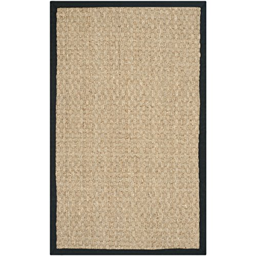 Safavieh Natural Fiber Collection NF114C Natural Background and Black Border Seagrass Area Rug, 2 feet by 3 feet (2' x 3')