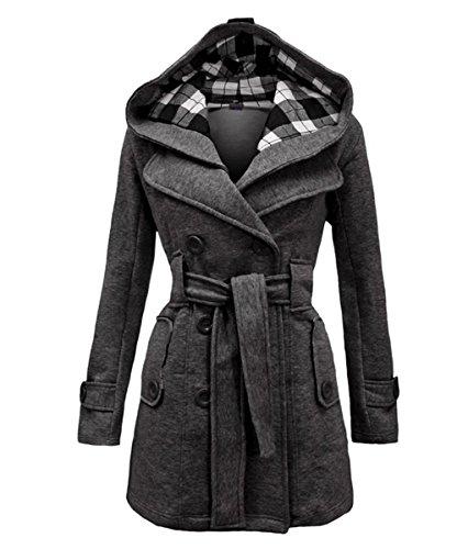Geben Women's Winter Warm Dark Grey Fleece Check Hooded Double Breast Coat Jacket, M