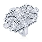 BERRICLE Sterling Silver Cubic Zirconia CZ Art Deco Ring