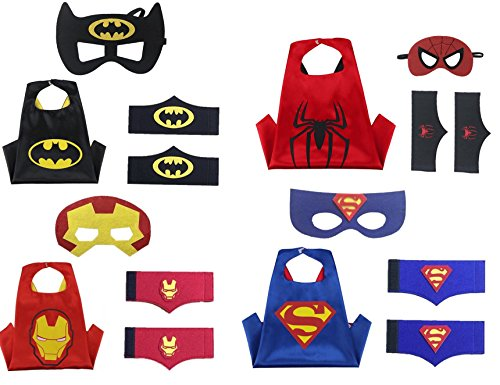Superhero Costume set for Boys- 1 set= 4 Capes, 4 Felt Masks, 4 Pairs of Felt Wristbands - For Birthday/Themed parties