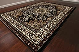 Generations 8023black Oriental Traditional Isfahan Persian Area Rug, 7\' 10\