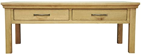 London Light Oak Coffee Table / Solid Oak Large 2 Drawer Coffee Table / Oiled Finish