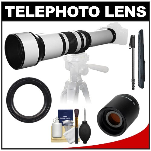Samyang 650-1300Mm F/8-16 Telephoto Lens (White) With 2X Teleconverter (=650-2600Mm) + Monopod Kit For Sony Alpha Dslr Slt-A35, A37, A55, A57, A65, A77 Digital Slr Cameras