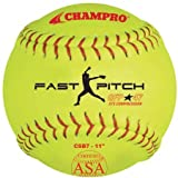Champro Game ASA Fast Pitch .47 COR, 375 Compression, Poly Synthetic Cover, Red Stiches (Optic Yellow, 11-Inch)