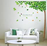 Green Falling Leaves Walplus Wall Stickers Art Mural Childrens Kids Nursery Baby Bedroom Love Tree Decorations, Green