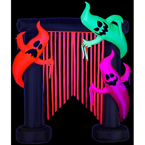 Gemmy 7'H X 6'W Airblown Halloween Inflatable Archway-Flo Glo Friendly Ghost Decoration, Includes Blacklight Spotlight For Outdoor Scary Holiday Decor front-94551
