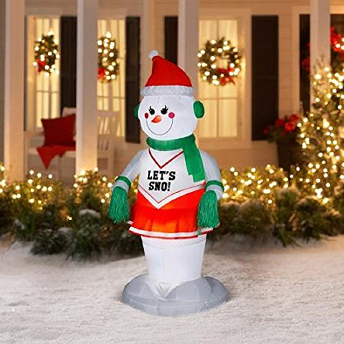 Decoration Ideas How To Choose Outdoor Animated Christmas: CHRISTMAS INFLATABLE 6 FT ANIMATED SNOW GIRL CHEERLEADER