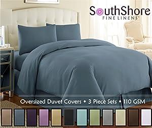 Southshore Fine Linens® 3 Piece - Oversized Duvet Cover Set (Queen, Steel Blue)