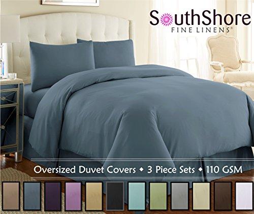 Southshore Fine Linens® 3 Piece – Oversized Duvet Cover Set (King, Steel Blue)