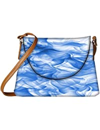 Snoogg White And Blue Smoke 2430 Womens Carry Around Sling Bags