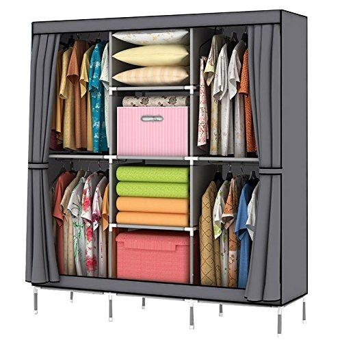 mow-wow-christmas-gift-portable-clothes-closet-wardrobe-non-woven-fabric-storage-organizer-with-shel