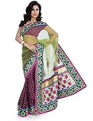 Designersareez Women Viscose Embroidered Multicolor Saree With Unstitched Blouse(1348)