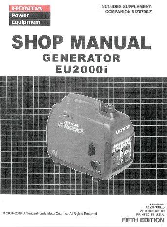 Honda EU2000I Generator Repair & Service Manual On CD (Honda Portable Generator Eu2000i compare prices)