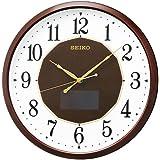 SEIKO CLOCK(セイコークロック) ハイブリッド ソーラー アナログ 電波 壁掛け時計 光 発電 ブラウン SF241B