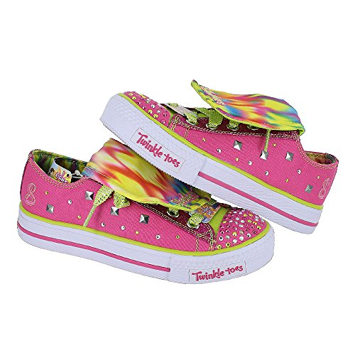 Girls Skechers Shuffles Twinkle Toes Rockster Pink Lime Size 11.5 front-669170
