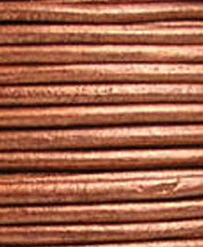 Review Round Leather Cord, 5 Yards Length, 2.0 mm Metallic Copper (#43)