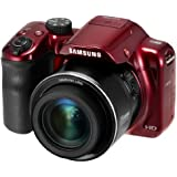"""Samsung WB1100F 16.2MP CCD Smart WiFi & NFC Digital Camera with 35x Optical Zoom, 3.0"""" LCD and 720p HD Video (Red) (Certified Refurbished)"""