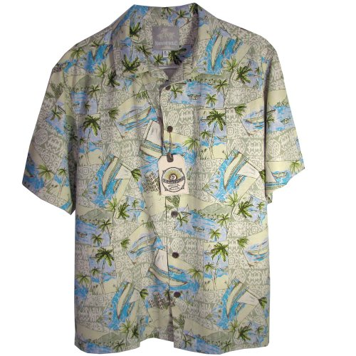Margaritaville Men'S 'Bbq' Short Sleeve Shirt, Cream, Size Xl