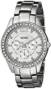 XOXO Women's XO5476 Silver-Tone Bracelet With Rhinestones Accent Bezel Watch