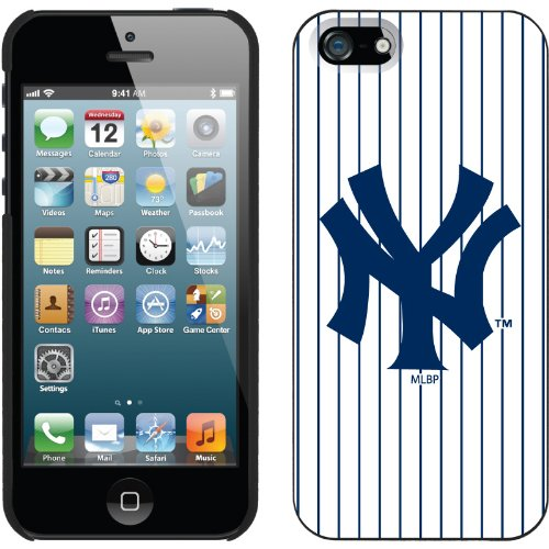Special Sale New York Yankees - Vintage NY Stripes design on a Black iPhone 5 Thinshield Snap-On Case by Coveroo