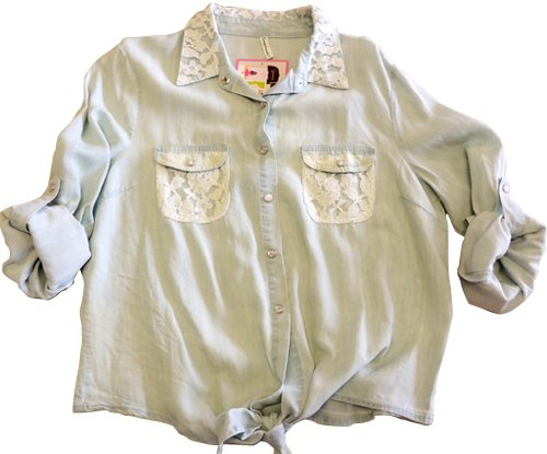 Gisena's Closet Lovemarks Denim Shirt w/Tie Bottom , Den, S