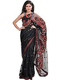 Exotic India Jet-Black Designer Saree With Floral Embroidered Patches - Black