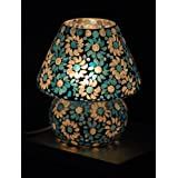 Giftwallas Glass Table Lamp ( Blue, 22 Cm )
