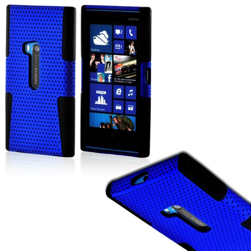 Mylife (Tm) Deep Blue And Dark Black Perforated Mesh Series (2 Layer Neo Hybrid) Slim Armor Case For The Nokia Lumia 920, 920.2, 920T And 920 4G Camera Smartphone By Microsoft (External Rubberized Hard Shell Mesh Piece + Internal Soft Silicone Flexible Ge
