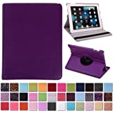 HDE 360° Rotating Leather Folio Case and Stand with Sleep/Wake Feature for iPad 2/3/4 (Purple)