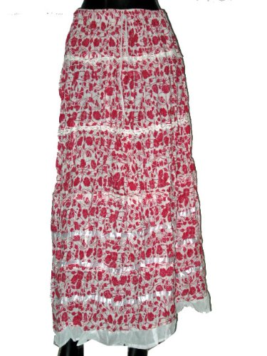 Casual Skirts -White with Red Color Printed Wrap Girls Comfortable Clothing In India Size 36 For Free Shipping
