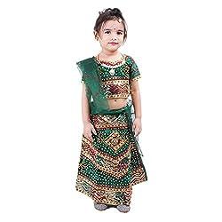 RTD Rajasthani Ethnic Fashion Green Lehenga Choli Dupatta Set for Girls