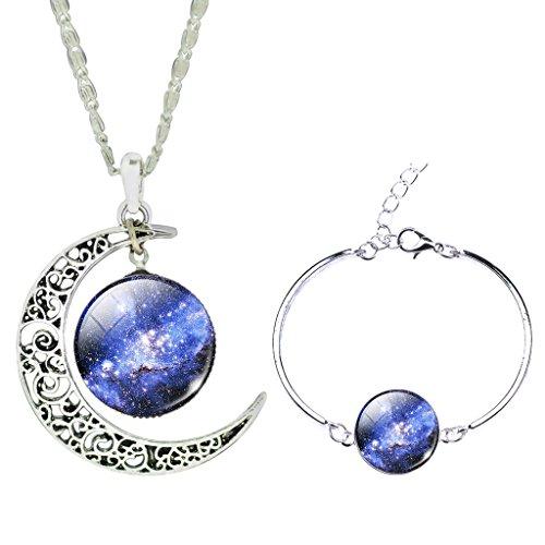 frauen-galaxie-raum-sterne-funkeln-zeit-edelstein-anhanger-halskette-silber-armband-schmuck-satz