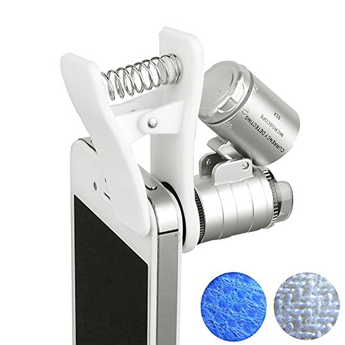 Beileshi 60x Zoom Microscope Magnifier LED + Uv Light Clip-on Micro Lens for Universal Mobile Phones Universal Clamp for Iphone 6s Plus/6s/6/6plus/ 5 5c 5s/ 4 4s/ Samsung Galaxy S5 G900h /S4 I9500 / S3 I9300 / Note 2 Ii / Note 3 Iii/ Note 4 Iv/ HTC (Cell Phone Uv Lamp compare prices)