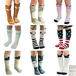 Gellwhu Baby Girls Boys Cotton Animal Cartoon Knee High Socks Stockings 9 Pairs (M(1-3 Year), Set A)