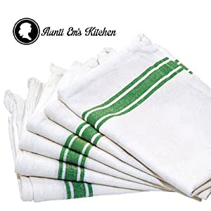 """Kitchen Dish Towels with Vintage Design, Super Absorbent 100% Natural Cotton Kitchen Towels (Size: 25.5""""x15.5"""") - 6 Pack Dish Towel Set - White with Green Stripe"""