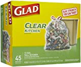 Glad Tall Kitchen Drawstring Clear Recycling Trash Bags, 45 Count