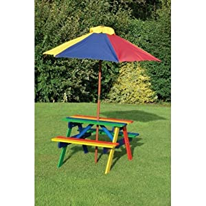 kids childrens picnic garden parasol umbrella patio table bench chairs