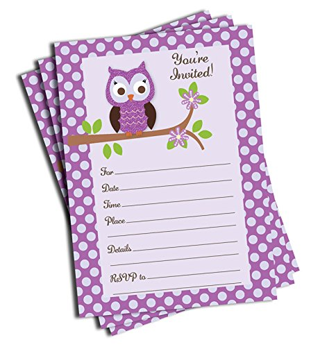 50 Purple Owl Invitations - Baby Shower - Birthday Party - Any Occasion (Purple Baby Shower Invites compare prices)