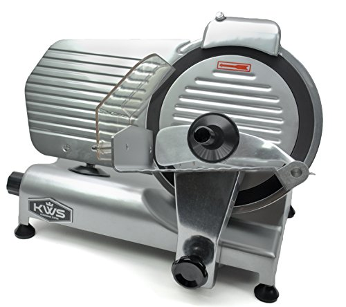 "KWS Premium Commercial 320w Electric Meat Slicer 10"" with Non-sticky Teflon Blade, Frozen Meat/ Cheese/ Food Slicer Low Noises Commercial"