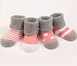 Dana Basics Baby Socks and Toddler Socks for Cold Weather - Heathered Boy Socks and Girl Socks Set of 4 Pair (Rose, 1-3 Years)