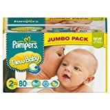 Pampers 81367661 New Baby Couches Taille 2 3 6 kg Jumbopack x 80 Couches