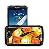 MSD Premium Samsung Galaxy Note 2 Aluminum Backplate Bumper Snap Case macro detail of a RGB LED stripe combined with warmwhite LEDs in colored spotlight IMAGE 30520176