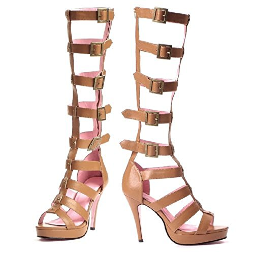 """Roma- 4"""" Faux Leather Multi Strap Knee High Sandal With 1"""" Platform And Back Zipper.(Tan,10)"""